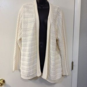 CROFT & BARROW XL WHITE CABLE KNIT CARDIGAN